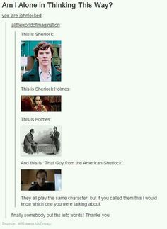 Actually, there's really only one Sherlock for me. RDJ will always be Iron Man. Sherlock Holmes is the literature one. The American Sherlock isn't even on my radar. Sherlock Holmes, Sherlock Fandom, Watch Sherlock, Martin Freeman, Benedict Cumberbatch, Vatican Cameos, Mrs Hudson, Sherlolly, Fandoms