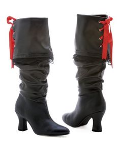 2.5 inch Knee High Boot Women's Size Shoe With Contrast Ribbon Lacing on Back. http://www.amazon.com/dp/B0027RDRPY/?tag=icypnt-20