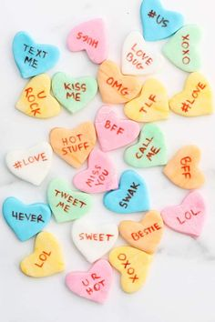Homemade conversation heart candy for Valentine's Day Homemade conversation heart candy for Valentine's Day Valentine Desserts, Valentines Day Treats, Valentine Day Crafts, Conversation Hearts Recipe, Strawberry Mousse, Low Carb Cheesecake, Converse With Heart, Cupcakes, Candy Recipes