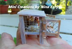 Side view of mini chicken coop ~Created by Nina Eary~