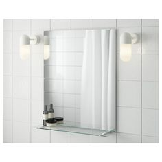 IKEA FULLEN Mirror with shelf 50 x 60 cm May be used as a shelf for a soap dish and toothbrush mug, thanks to the depth of the frame. Wall Mirrors Ikea, Bathroom Mirror With Shelf, Bathroom Red, Ikea Bathroom, Bathroom Plants, Bathroom Colors, Small Bathroom, Vanity Mirrors, Bathroom Closet