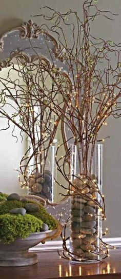 The Chic Technique: Fall Decorating Idea - Branches, Rocks and Mini Lights. - The Chic Technique: Fall Decorating Idea - Branches, Rocks and Mini Lights. Christmas Centerpieces, Xmas Decorations, Wedding Centerpieces, Curly Willow Centerpieces, Deco Floral, Types Of Doors, Fairy Lights, Twig Lights, Lighted Branches