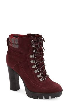 Free shipping and returns on Nine West NineWest'Abrial' Lace-UpBootie(Women) at Nordstrom.com. A towering stacked heel and a luggedplatform define this edgy lace-up bootie. A padded collar and almondtoe finish the look with on-trend appeal.