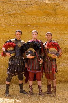 Mark Antony (James Purefoy) Octavian (Simon Woods) and Agrippa (Allen Leech) on HBO's Rome