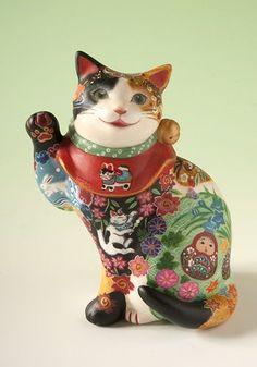 生き物四季文様招き猫 松本浩子 Lucky Cat Four Seasons pattern of Japan