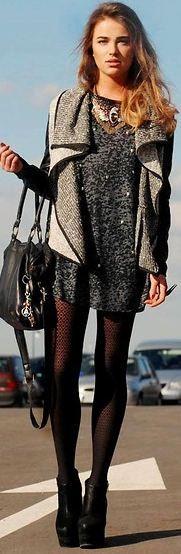 cozy uneven hemmed sweatshirt vest, with sweater dress & tights
