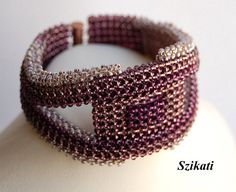 Beige/Eggplant Seed Bead Statement Bracelet Wearable by Szikati