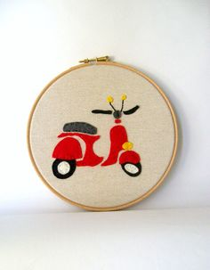 Red vespa hoop art , hand embroidery decoration with felt ,home decor red vespa hoop wall art,toddlers room
