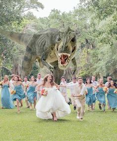 T-Rex photobomb. Best wedding pic of all time? Photo: Quinn Miller