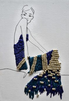 A series of hand embroidered and beaded fashion illustrations involving the fashion figure in different ways. These are all done on medium sized canvases and are done solely with embroidery thread and beads.