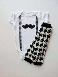 Mustache Baby Boy Onesie and Suspenders Houndstooth by mamabijou, $33.00