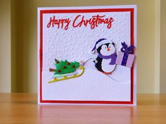 Christmas Card, Handmade - Cottage Cutz penguin die.  For more of my cards please visit CraftyCardStudio on Etsy.com.