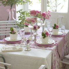 Pink roses on a table - tablescaping