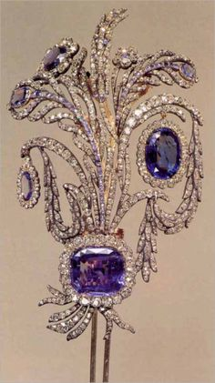 AIGRETTE    1  : a spray of feathers (as of the egret) for the head  2  : a spray of gems worn on a hat or in the hair.  The one appears to be made of platinum or silver, diamonds and either sapphires or amethyst.  Stunning.