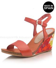 Zapatos de cuña fabricadas en España en piel - Alejandra coral Cuña 7,5 cm