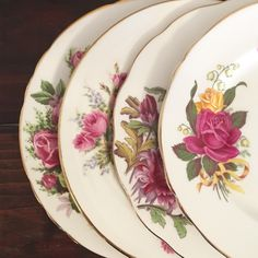 Set of 4 Vintage Mismatched Plates - Dark Red Florals- Mix and Match Plates -Salad Plates - Shabby Chic Home Decor by DishUponAStar on Etsy https://www.etsy.com/listing/509386815/set-of-4-vintage-mismatched-plates-dark