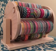 Sew Craft Image of Washi/Ribbon Combo Wheel - **International Customer: please email us for a shipping quote before completing your order.** Our new Washi Tape Rack is a great way to. Craft Room Storage, Craft Organization, Ribbon Organization, Craft Rooms, Organizing Ideas, Organizing Clutter, Craftroom Storage Ideas, Craft Ribbon Storage, Gift Bag Storage
