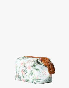 Tropical print cosmetics bag