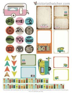 Free Camping 2 Printable Planner Stickers | Victoria Thatcher