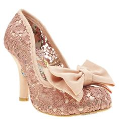 Irregular Choice provide us with another intricately detailed style with the Mal E Bow Crochet. Dressed in a pale pink crochet fabric upper, metallic mesh underlay adds a touch of shimmer. Satin corduroy bow embellishment and a 10cm heel finishes.