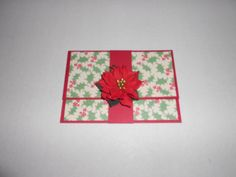 Green & Red Christmas Holly Gift Card Holder w/Poinsettia Band Closure-Money Holder by TeaRoseLaneShop on Etsy