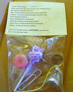 Kit from God ( Survival Kit ) * 9 items inside - Spiritual /Novelty gift in Gag Gifts Gag Gifts, Craft Gifts, Funny Gifts, Cheer Gifts, Christian Crafts, Church Activities, Scout Activities, Bible Activities, Kids Church