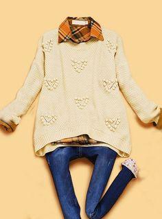 Beige Long Sleeve Plush Ball Embellished Sweater (friday vintage)