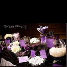 Purple & white candy table