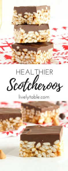 Healthier Scotcheroos are classic peanut butter, chocolate, and butterscotch holiday treats made whole grain cereal and with no corn syrup. (gluten-free, vegetarian)   Via livelytable.com