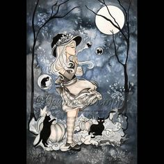 Witch SKULL 8x10 PRINT GOTH Owl Dark Guardian SCHEMPP