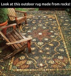 Outdoor rug made from rocks.  Love this !