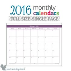 half size 2016 monthly calendar printables pinterest planners