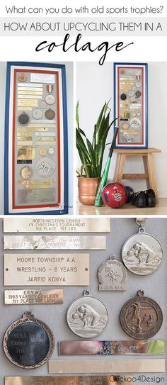 Home Interior Hamptons Upcycling old trophies and medals in a collage