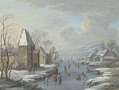 Wintergezicht met ijsvermaak, Barbara Regina Dietzsch, 1716 - 1783