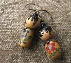 Little Kokeshi Doll Earrings Wooden Beads Niobium by fancylinda
