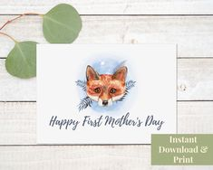 First Mother's Day Card, Printable 1st Mothers Day Card, Digital Download Birthday Cards For Boys, Happy Birthday, Printable Cards, Printables, First Mothers Day, First Birthdays, Card Stock, Greeting Cards, Digital