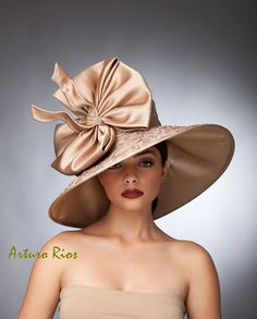 Champagne Derby Hat, Couture hat, Kentucky derby hat ,Del Mar Hats, Lamshade Hat