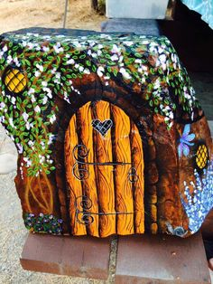 Fairy door painted rock.