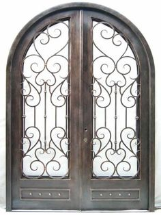 Beautiful wrought iron door with simplistic scrollwork. Wrought Iron Doors, Metal Structure, Clever Design, Home Decor Accessories, Classroom Decor, Cheap Home Decor, Decor Crafts, Living Room Designs, Home Remodeling