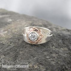 Custom Floral Wave Engagement Ring by Beth Millner Jewelry