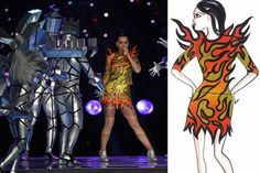 """""""The flame dress"""" estuvo inspirado en un diseño de tenis alados de ADIDAS. Consistió en una falda y un top de cuero, en tonos amarillos y naranja y apliques con estampados en formas de llama, el cual le daba la posibilidad de llevar el segundo vestido debajo, ya que contaba con solo 10 segundos para cambiarse.  Fuente:http://bucket3.clanacion.com.ar/anexos/fotos/25/super-bowl-2001825w618.jpg"""