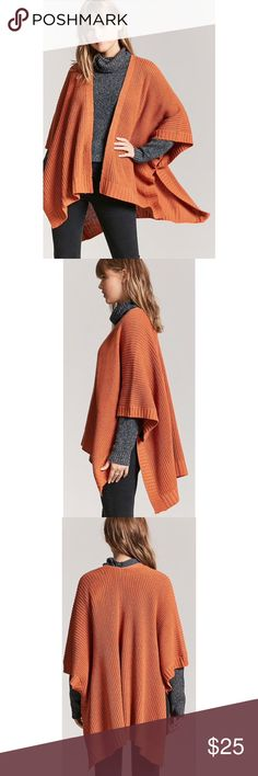 "Forever 21 Rust Open-Front Shawl Cardigan Details Style Deals - A ribbed knit cardigan featuring an open-front, shawl collar, high-low hem, and ¾ length dolman sleeves. Content + Care - 100% acrylic - Hand wash cold  Size + Fit - Model is 5'8"" and wearing a Small - Full length: 36"" - Chest: 60"" - Waist: 62"" - Sleeve length: 16"" Forever 21 Sweaters Cardigans"