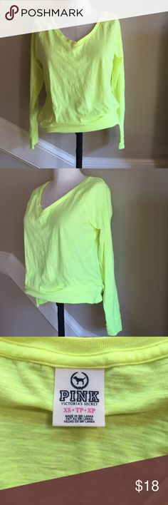 PINK neon long sleeve top size XS. Victoria's Secret PINK neon yellow top size XS. EUC. PINK Victoria's Secret Tops Tees - Long Sleeve