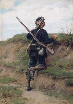 French infantry sentry, Franco-Prussian War- by Paul Louis Narcisse Grolleron