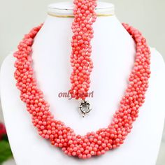 Free Shipping stunning handmade plait pink coral by OnlyPearl, $36.50
