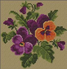 Sample from Spring Baby Pillow_Cross Stitch Pansies Pillow Embroidery, Custom Embroidery, Cross Stitch Embroidery, Cross Stitch Patterns, Hand Embroidery, Simple Cross Stitch, Cross Stitch Rose, Cross Stitch Flowers, Chicken Cross Stitch