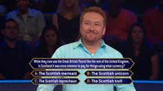 """Pound for pound, this question on Tuesday's all-new #MillionaireTV could put contestant John Walberg in reach of a lot of dollars. This Scottish payout might lead John to a big payday with the correct #FinalAnswer. How much cash is in store for him? Don't miss Tuesday's """"Millionaire"""" with host Chris Harrison. Go to www.millionairetv.com for time and channel to watch."""