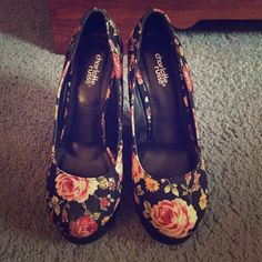 Rose print shoes from Charlotte Russe❤️ These are size 6 shoes, they have only been worn one time! They are in pretty much brand new condition☺️ Charlotte Russe Shoes Heels