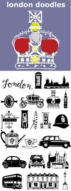 London is always hip with William and Kate and the 2012 Summer Olympics. 29 illustrations and a script word London. Kate's ring, the Queen's carriage, crown, skyline, cityscapes, cars, double-decker bus, castles, bridge, tea items, flag and more.