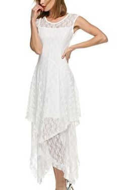 ACEVOG Women's Sexy Sleeveless Floral Lace Tiered Long Irregular Party Dress - http://amzn.to/2aQoFmC